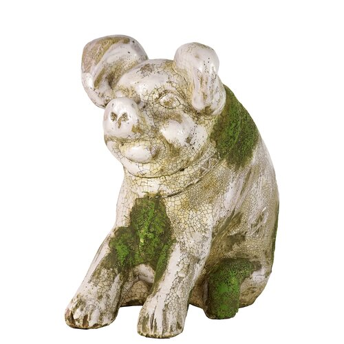 Sweet and Charming Stoneware Sitting Pig Statues