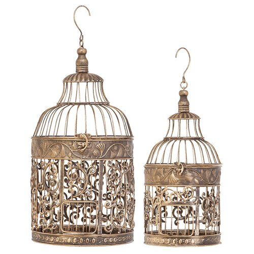 Woodland Imports 2 Piece Decorative Metal Bird Cage Set