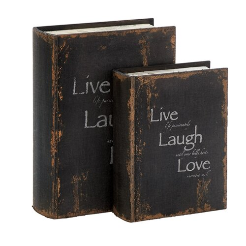 'Live, Laugh, Love' 2 Piece Wooden Book Box Set