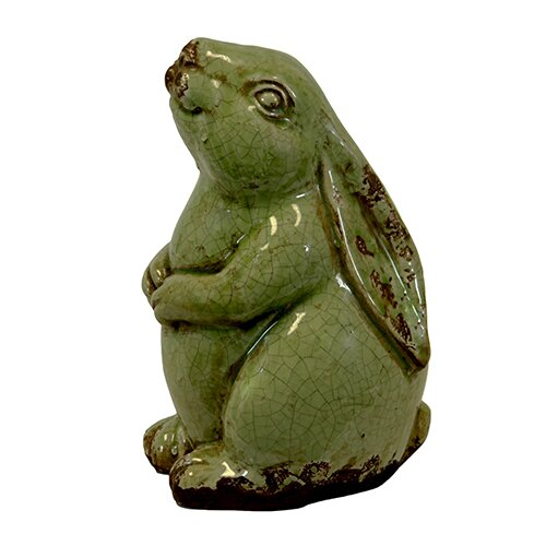 Sweet and Adorable Ceramic Sitting Rabbit Figurine