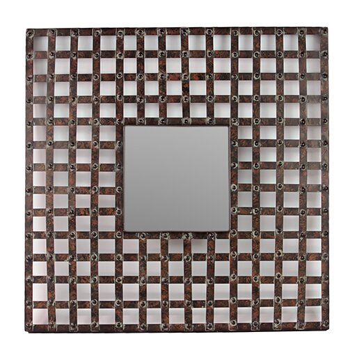 Woodland Imports Square Shaped Metal Wall Mirror
