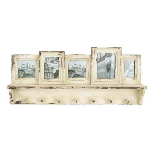 Woodland Imports Wooden Wall Picture Frame with Hooks