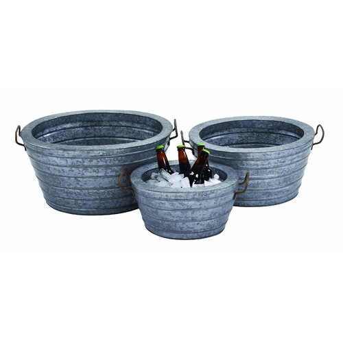 Woodland Imports 3 Piece Galvn Wine Beverage Tub Set