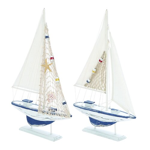 Woodland Imports 2 Piece Carved Edges Sailing Model Boat Set