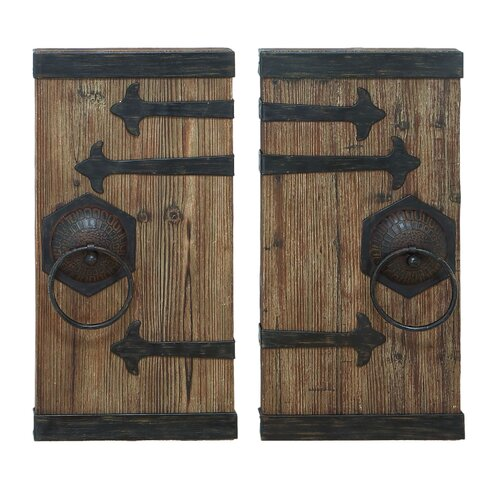 Woodland Imports 2 Piece Décor Aged Ancient Door Wall Décor Set