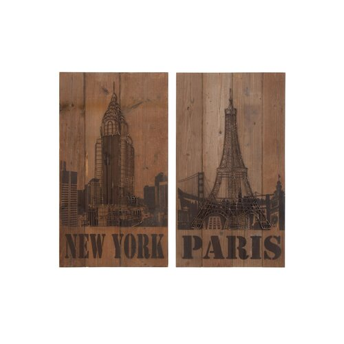 New York and Paris 2 Piece Plaque Set