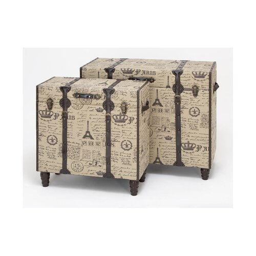 Woodland Imports Handcrafted 2 Piece Wood and Fabric Trunk