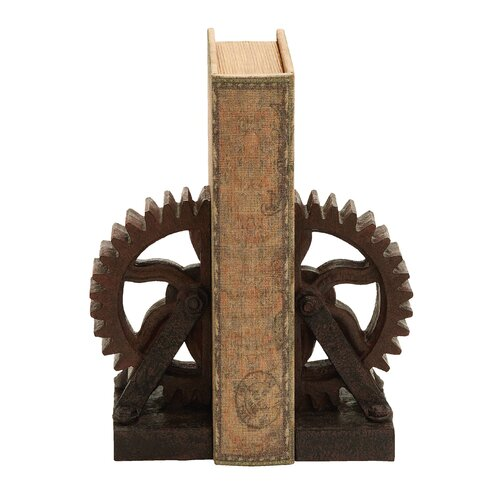 Woodland Imports Rusted Gear Themed Book Ends