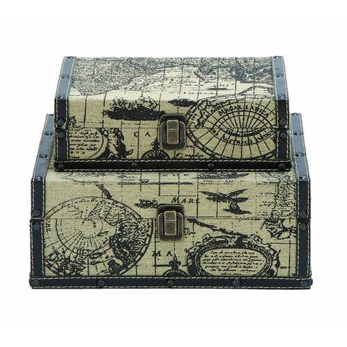 Woodland Imports Ancient World Map Traveling Box