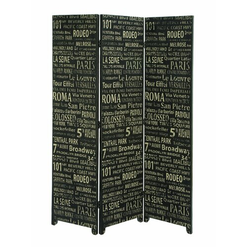 "Woodland Imports 69"" x 48"" European Landmarks 3 Panel Room Divider"