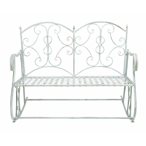 Woodland Imports Metal Rocking Garden Bench