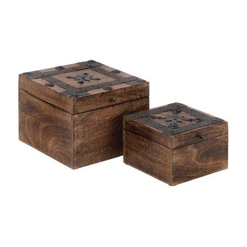 Wood Metal Box (Set of 2)