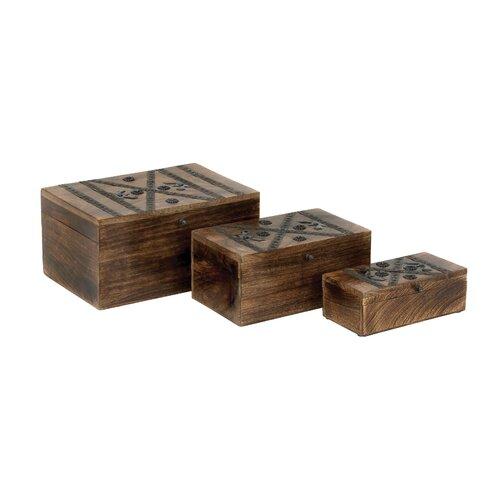 Woodland Imports Wood Metal Box