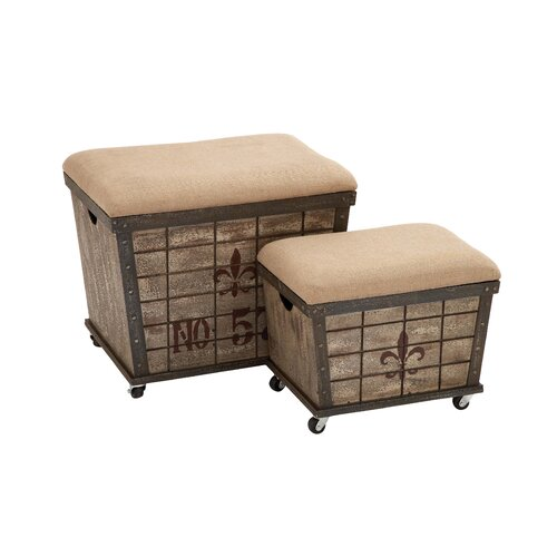 Stool with Storage Space (Set of 2)