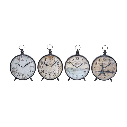 Desk Clock with Round Face for Table (Set of 4)