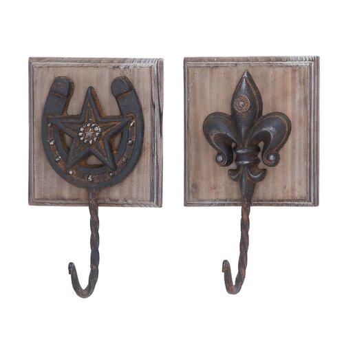 Metal Wood Wall Hooks (Set of 2)