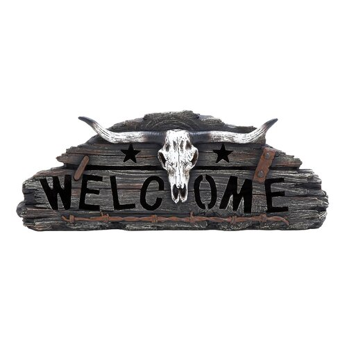 Woodland Imports Beautifully Designed Skull Welcome Accented with Ranch Details Wall Décor