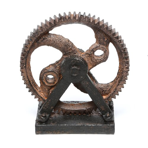 Woodland Imports Décor Industrial Style Rusted Gear Figurine