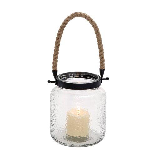 Woodland Imports Vintage Canning Jar Glass and Rope Lantern