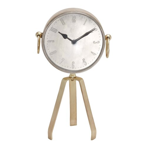 Showpiece Metal Table Clock with Tripod Stand