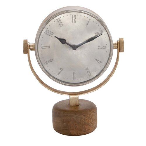 Double Sided Metal Table Clock with Wooden Stand