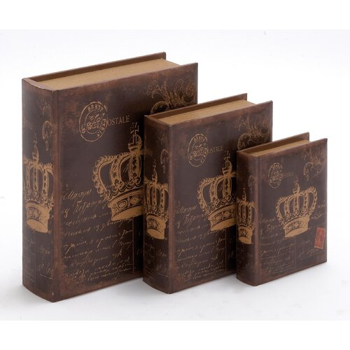 3 Piece Wooden Book Box Set
