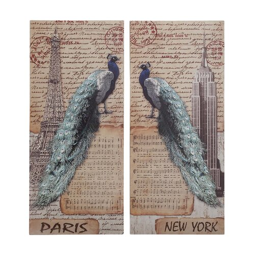Woodland Imports Strut Peacock Assorted Historic 2 Piece Painting Print Set