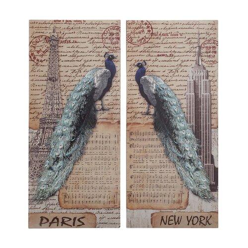 Strut Peacock Assorted Historic 2 Piece Painting Print Set