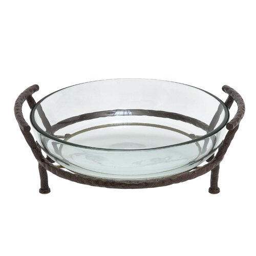 Woodland Imports Glass Bowl with Metal Stand