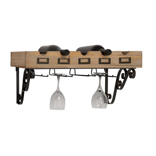 Woodland Imports 5 Bottle Wall Mount Wine Rack
