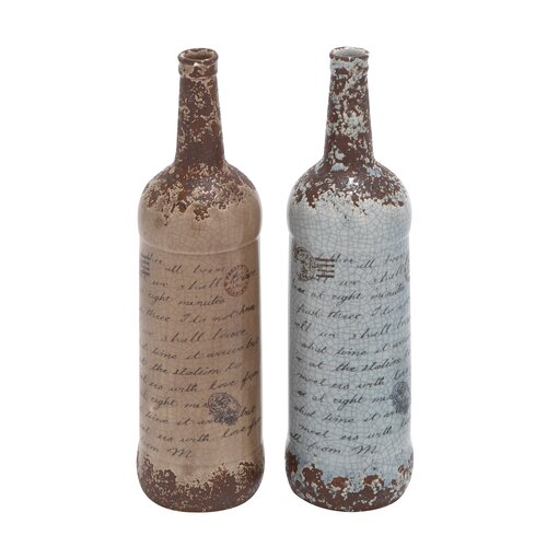Woodland Imports 2 Piece Ceramic Vase Set