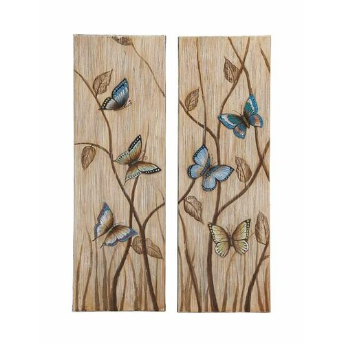 Butterfly 2 Piece Painting Print on Canvas Set