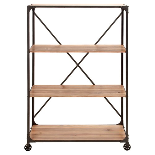 Woodland imports portable metal wood shelf reviews wayfair for Portable book shelves