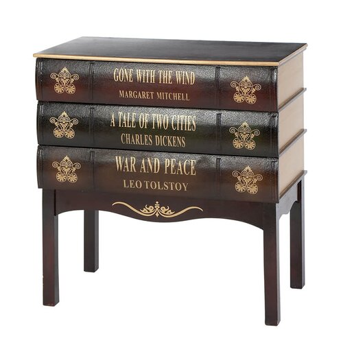 Woodland Imports Library Wood Book 3 Drawer Chest