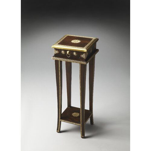 Butler Artifacts Rajan Brass Inlay Plant Stand
