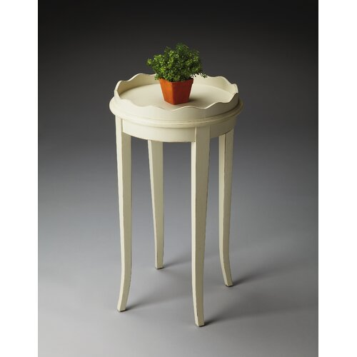 Masterpiece Accent Table in Distressed Cottage White with Scalloped Border