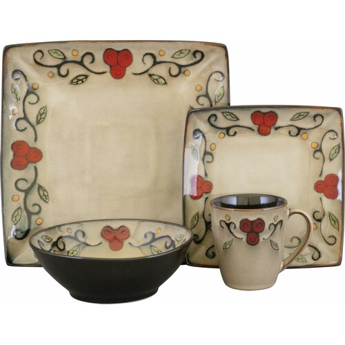 Sango Jubilee Black 16 Piece Dinnerware Set