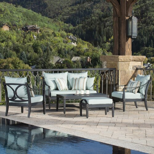 RST Outdoor Astoria 5 Piece Loveseat and Club Deep Seating Group with Cushions