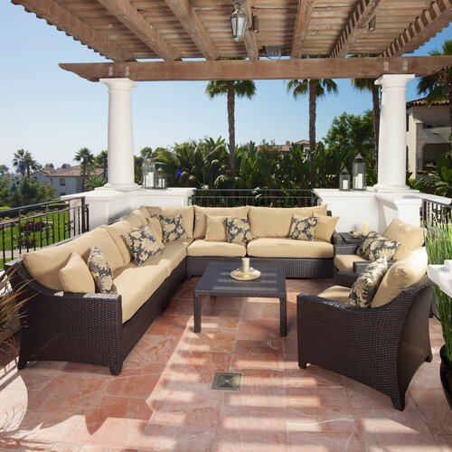 RST Brands Deco 9 Piece Deep Seating Group with Cushions