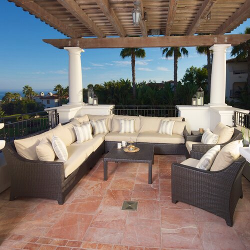 RST Outdoor Slate 9 Piece Deep Seating Group with Cushions