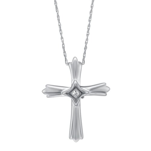 Sterling Silver 0.03 Carat TDW Princess Cut Diamond Cross Necklace
