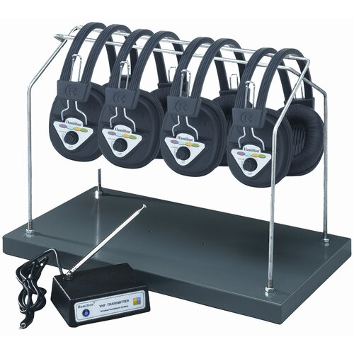 Hamilton Electronics Multi Wireless Listening Center with 4 Headphones and Headphone Rack