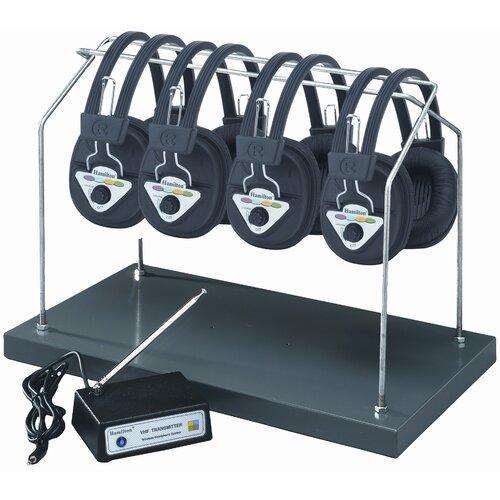 Hamilton Electronics Multi Wireless Listening Center with 4 Headphones and Headphone Rack
