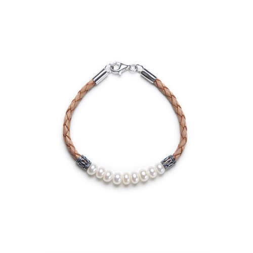 Eco Opulence Brown Braided Leather and Cultured Pearl Bracelet
