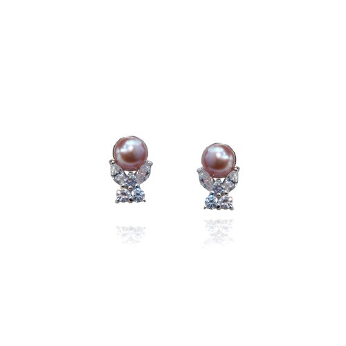 Pink Butterfly Cultured Pearl Earring