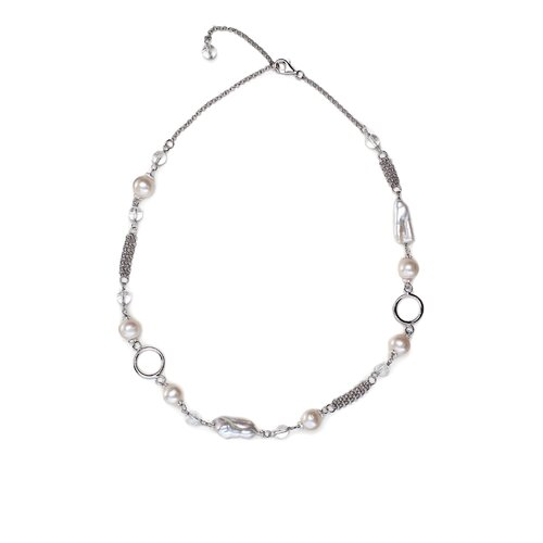 Silvers and Quartz Multi Textured Cultured Pearl Necklace
