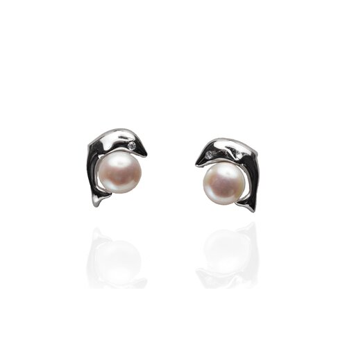 Eco Opulence Dolphin Cubic Zirconia and Cultured Pearl Stud Earrings
