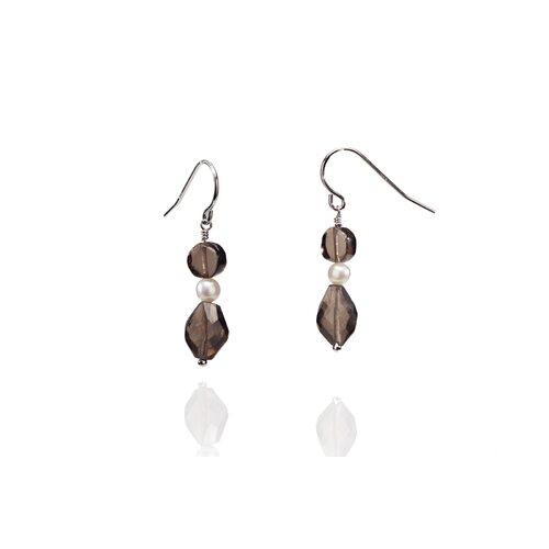 Eco Opulence Smokey Quartz and Cultured Pearl Drop Earrings