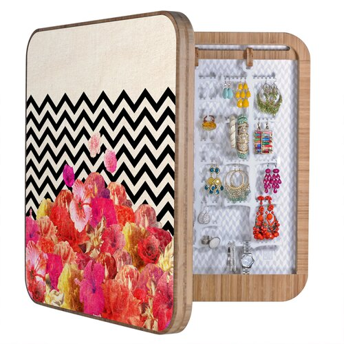 Bianca Chevron Floral Jewelry Box