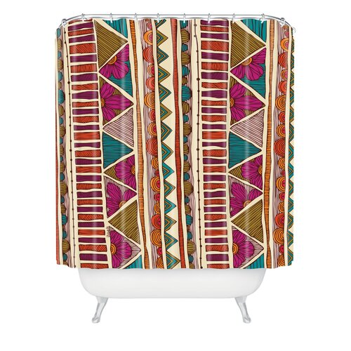Valentina Ramos Woven Polyester Ethnic Stripes Shower Curtain